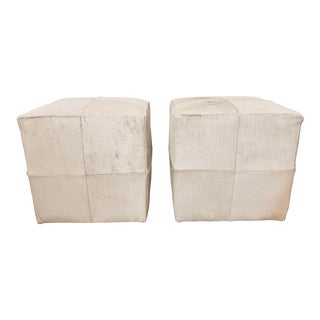 Country White Cowhide Cube Ottomans - a Pair For Sale