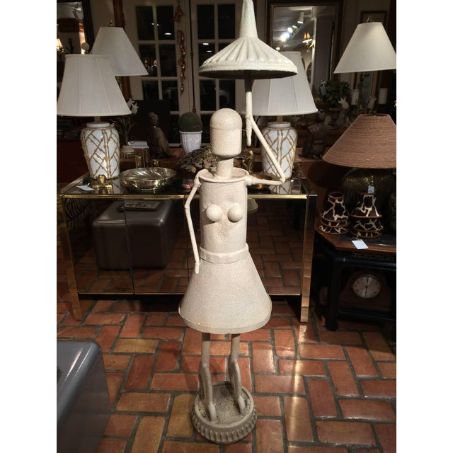 Industrial Woman With Umbrella Sculpture For Sale - Image 4 of 11