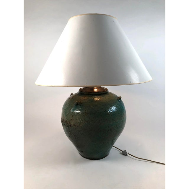 Large Green Glazed Art Pottery Lamp For Sale - Image 11 of 13