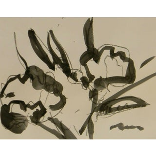 """Jose Trujillo New Minimalist Acrylic on Paper Painting - Floral - 11x14"""" For Sale"""