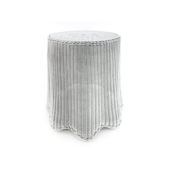Trompe l'Oeil White Draped Wicker Ghost Pedestal Entryway Side Table For Sale In Philadelphia - Image 6 of 6