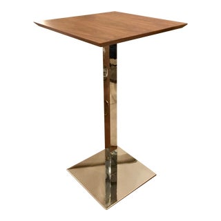 Contemporary Square Wood and Metal Square High Top Table For Sale