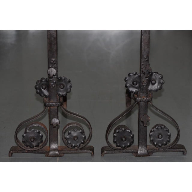 Mediterranean 19th Century Hand Forged Wrought Iron Andirons - a Pair For Sale - Image 3 of 7