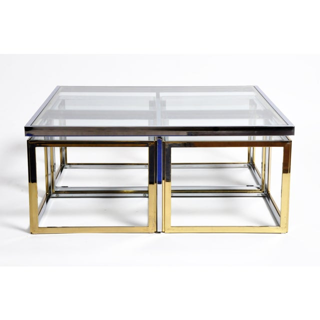 1970s Five-Piece Brass Table Set With Glass Top For Sale In Chicago - Image 6 of 13