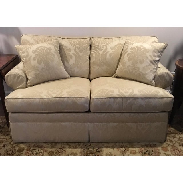 Ethan Allen Modern Ethan Allen Rolled Arm Love Seat Sofa For Sale - Image 4 of 4