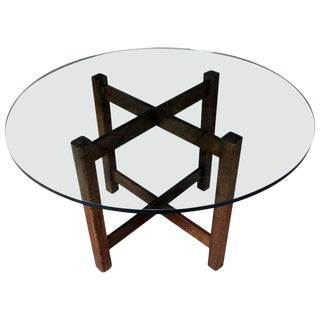 Modernist X-Base Dining Room Table with Round Glass Top For Sale