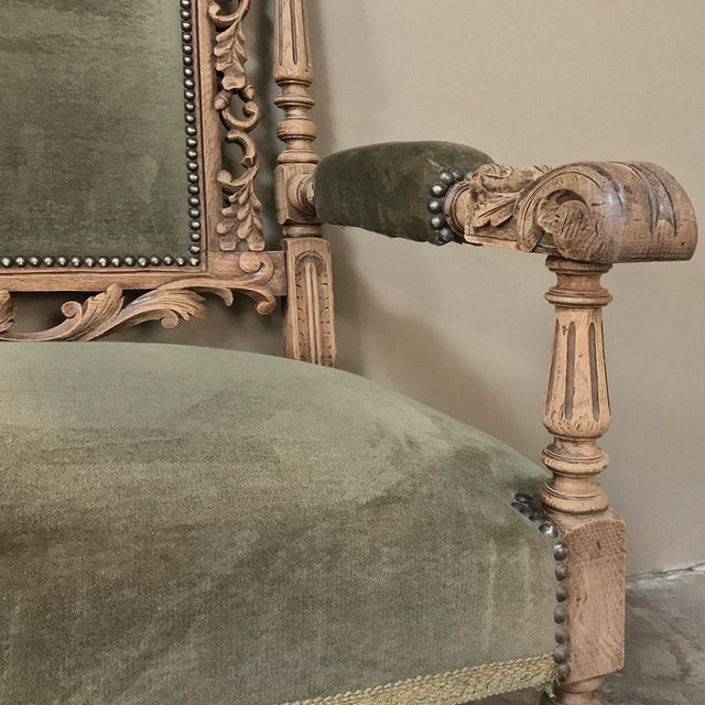 Wood 19th Century Black Forest Stripped Oak Hunt Sofa For Sale - Image 7 of 13
