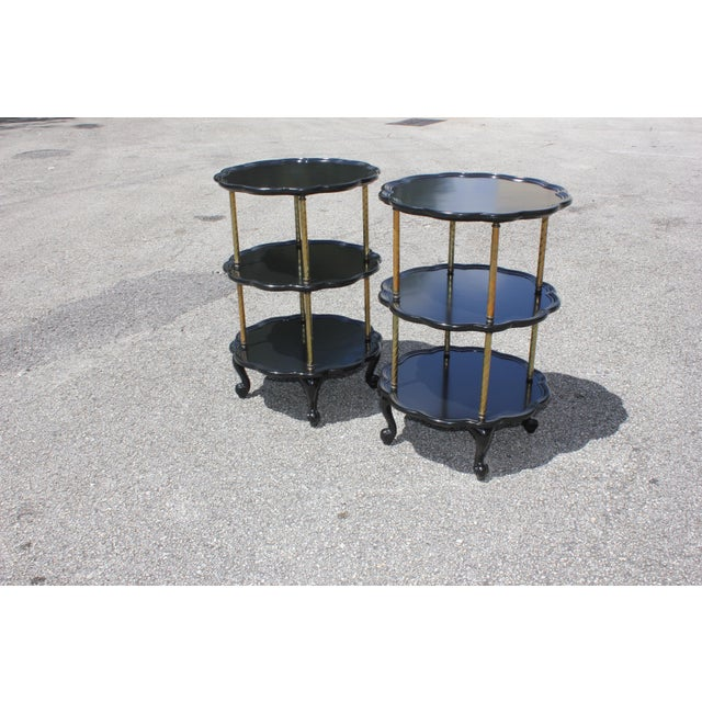 Art Deco Beautiful Pair of French Louis XV Ebonized Side Table Circa 1910s. For Sale - Image 3 of 13