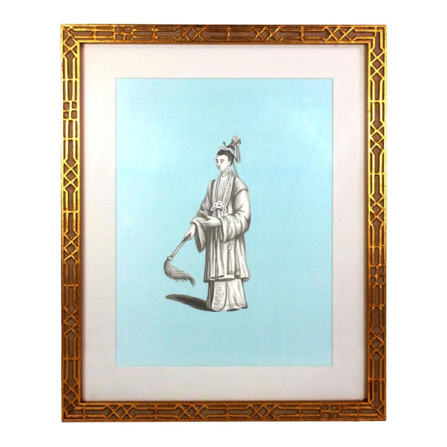 Jardins en Fleur Chinoiserie Painting of Chinese Nobleman in Grisailles on Tiffany Blue Silk For Sale - Image 4 of 4