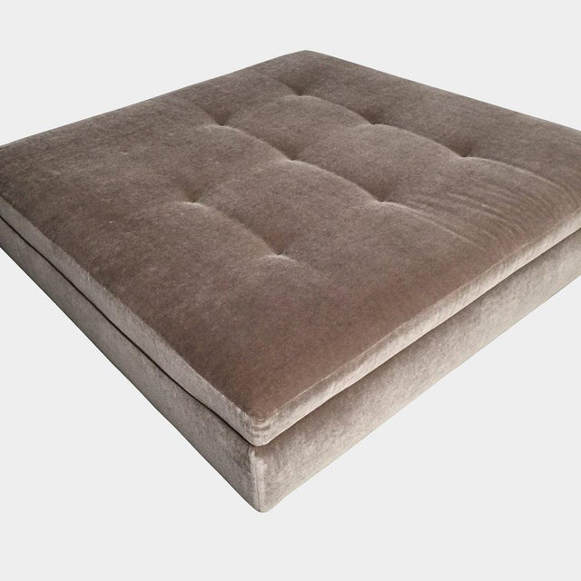"""Minotti Mohair Tufted Square Ottoman Dusty rose color ottoman. Material: Mohair Upholstery Dimensions: 52""""W x 52""""D x 13""""H..."""