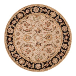 Jaipur Living Selene Handmade Floral Beige Black Round Area Rug 8'X8' For Sale