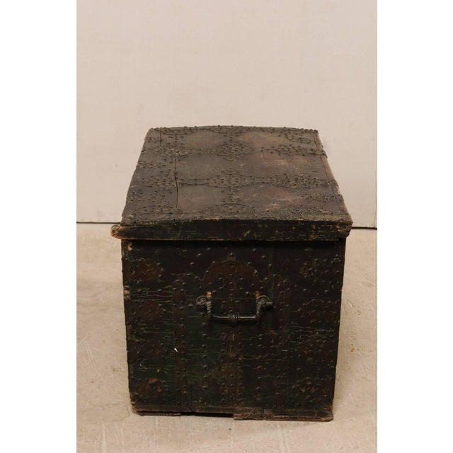 Wood Late 18th Century Spanish Baroque Nailhead Coffer Wood Trunk For Sale - Image 7 of 12