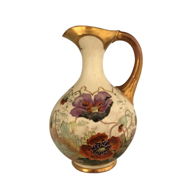 Antique Austrian Art Pottery Floral Decorated Ewer Pitcher For Sale