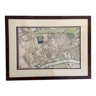 Vintage Framed Map of South Kensington For Sale