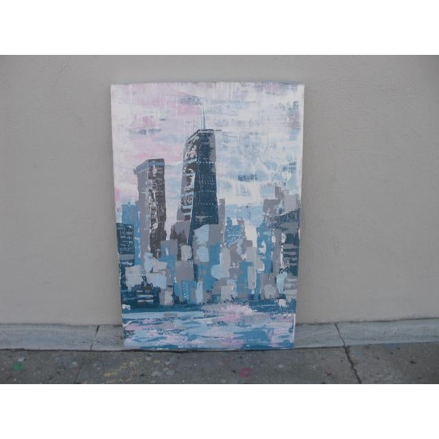 2000s Abstract Hancock Tower Chicago Painting For Sale In Los Angeles - Image 6 of 6