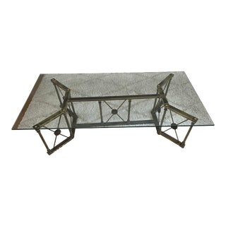 Vintage Brass and Glass Coffee Table For Sale