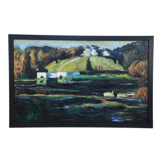 Framed Acrylic Landscape Painting of Lakeside Buildings in Autumn For Sale