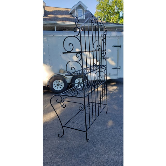 Mid 20th Century Black Wrought Iron Bakers Rack For Sale In Saint Louis - Image 6 of 7