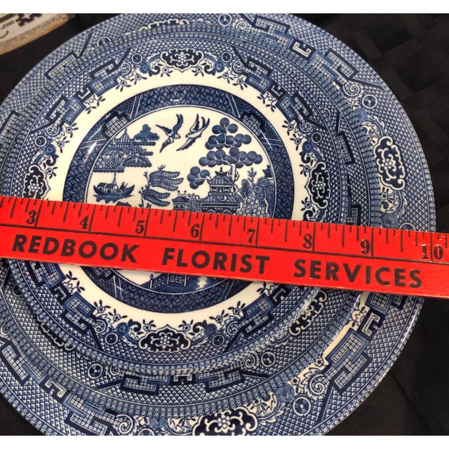 Blue Traditional English Churchill Blue Willow Dinner, Bread, Salad Plates, Soup, Cereal Bowls - 20 Pieces For Sale - Image 8 of 13