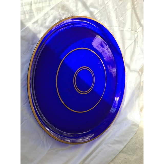 Early 19th Century Antique Crystal Cobalt Blue Gallery Tray For Sale - Image 5 of 7