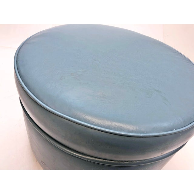Blue Vintage Mid Century Blue Vinyl Round Foot Stool Ottoman For Sale - Image 8 of 12