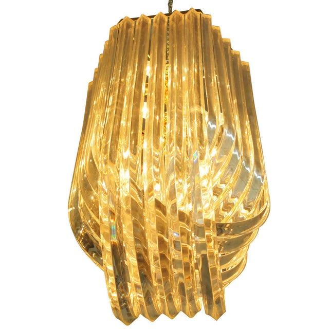 online store 01a70 29dd7 Large Sculptural Lucite Ribbon Chandelier