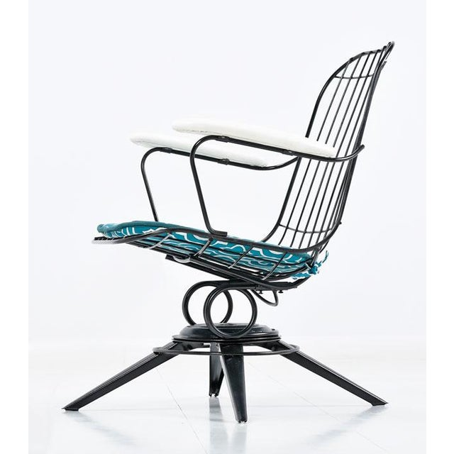 1970s Homecrest Mid-Century Modern Outdoor Chairs Aqua and Black For Sale - Image 5 of 6