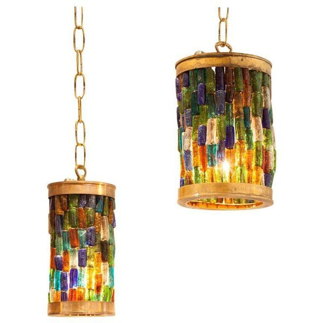 Forced Pair of Midcentury Murano Multi-Color and Brass Pendants - Image 3 of 3
