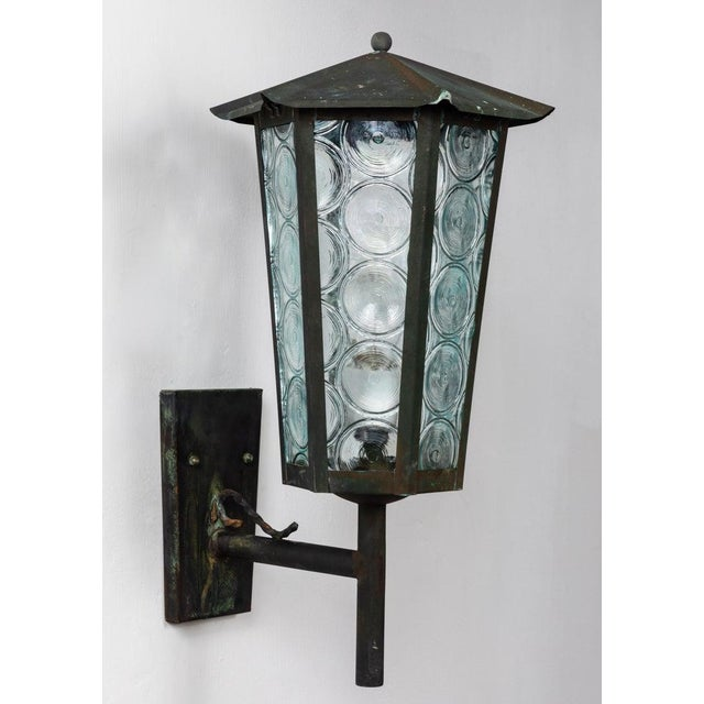 1950s 1950s Large Scandinavian Outdoor Wall Lights in Patinated Copper and Glass - a Pair For Sale - Image 5 of 13
