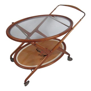Italian Modern Serving Cart by Cesare Lacca For Sale