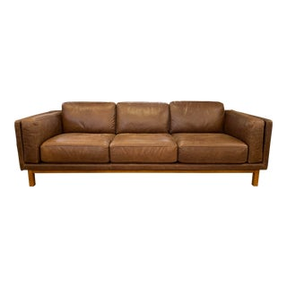 West Elm Dekalb Grand Leather Sofa For Sale