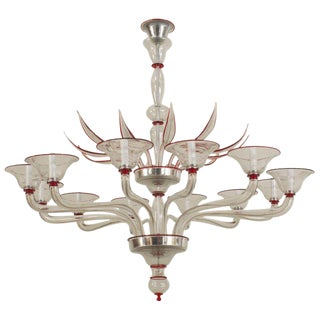 1940s Style Italian Venetian Murano Modern Clear Glass & Red Trimmed Chandelier For Sale