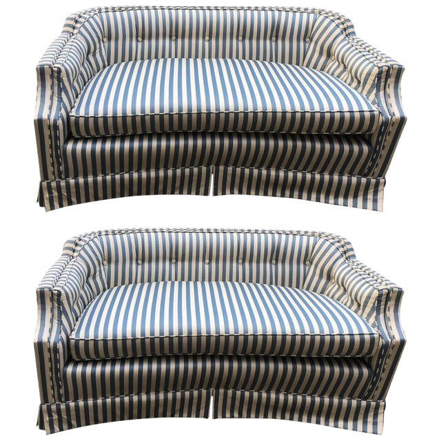 Curved Tufted Back Loveseats - A Pair - Image 1 of 4