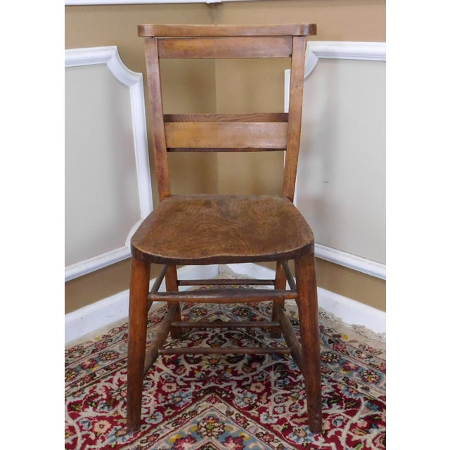 19th Century Antique Primitive Chestnut & Pine Church Chapel Chairs - Set  of 8 - Image - 19th Century Antique Primitive Chestnut & Pine Church Chapel Chairs