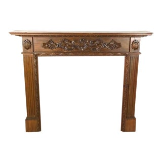 Carved Wooden Fireplace Mantel