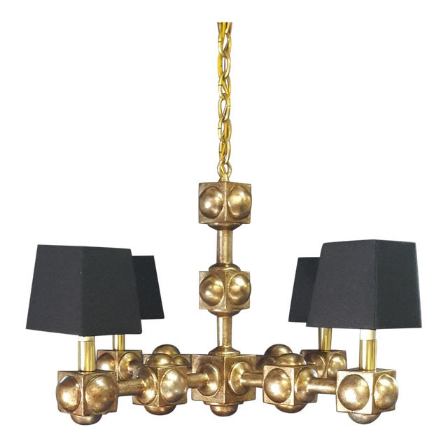 Four Square Chandelier Champagne Finish With Black Linen Shades For Sale