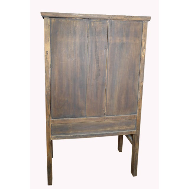 Wood 19th Century Chinese Wooden Wardrobe With Paneled Doors, Drawers and Tall Legs For Sale - Image 7 of 8
