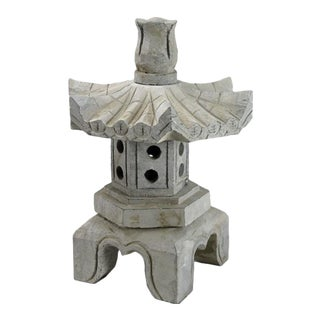 Asian Stone Garden Lotus Top Lantern For Sale