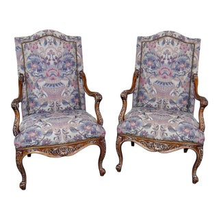 Louis XV Style Tapestry Arm Chairs - a Pair For Sale
