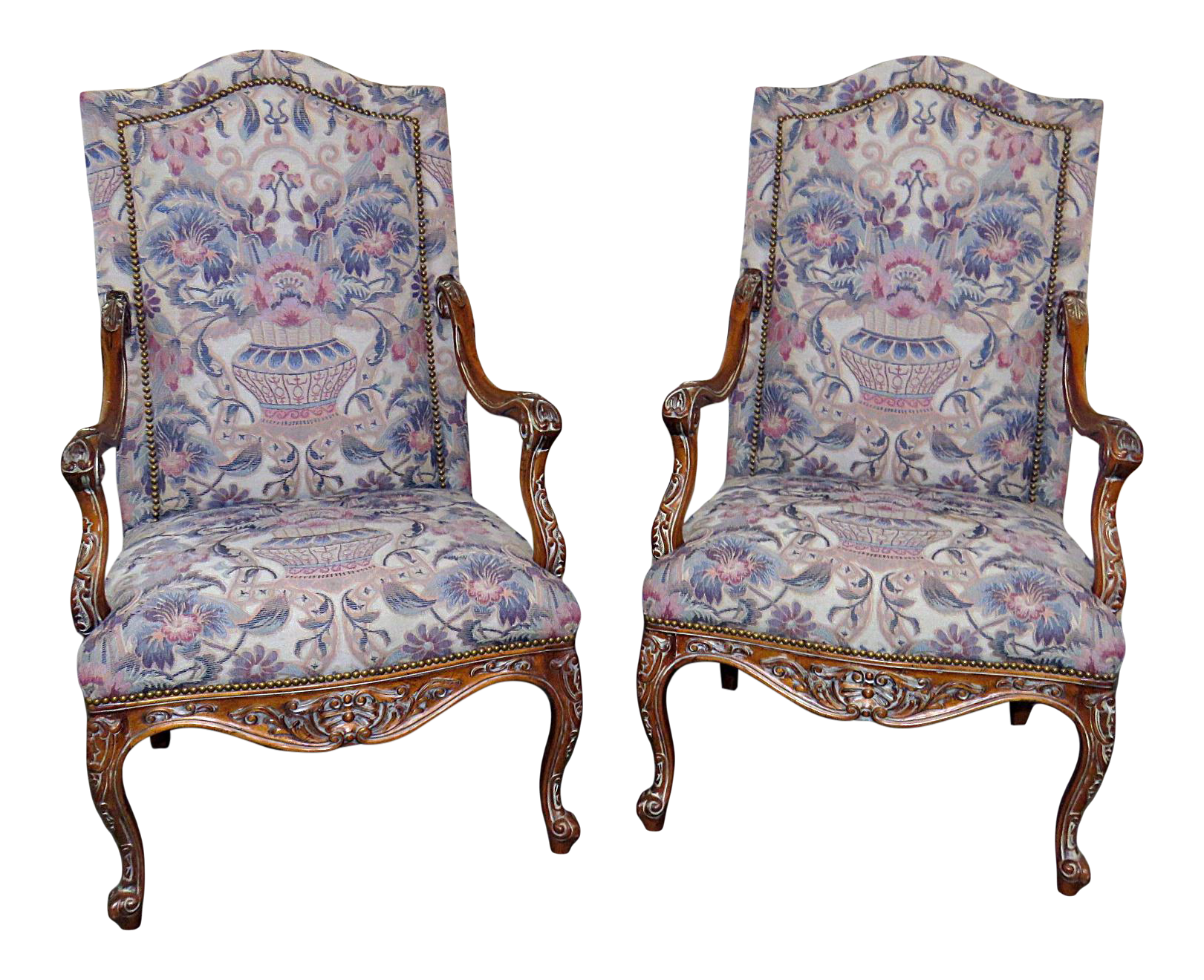 Louis XV Style Tapestry Arm Chairs   A Pair