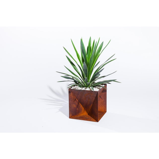 """Origami Planter - Weathering Steel 14"""" For Sale - Image 12 of 12"""