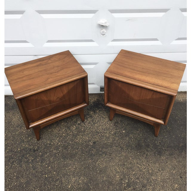 Mid-Century Diamond Front Nightstands - A Pair - Image 4 of 11
