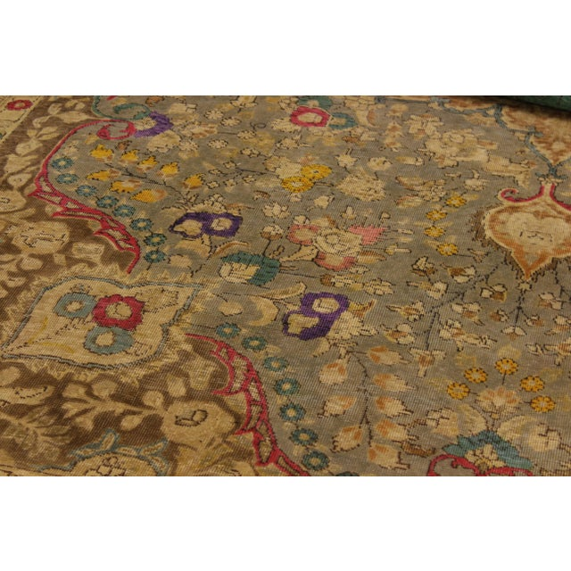 Vintage Distressed Color Reform Sylvester Gray/Brown Wool Rug - 9'9 X 12'10 For Sale - Image 4 of 8