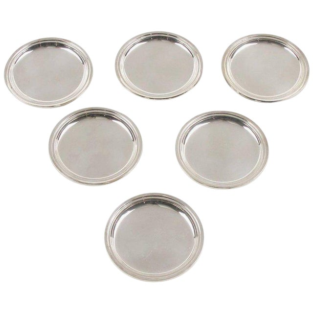 Jezler Modernist Sterling Silver Barware Coasters - Set of 6 For Sale