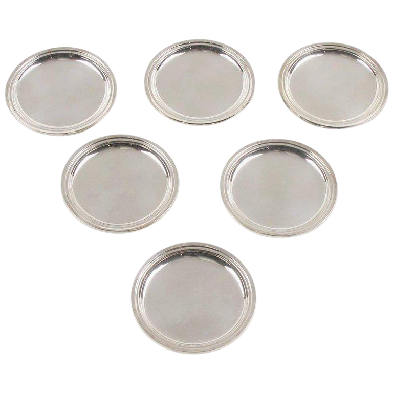 Jezler Modernist Sterling Silver Barware Coasters   Set Of 6