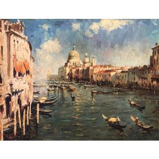 Grand Canal Venice Italian School Oil Painting