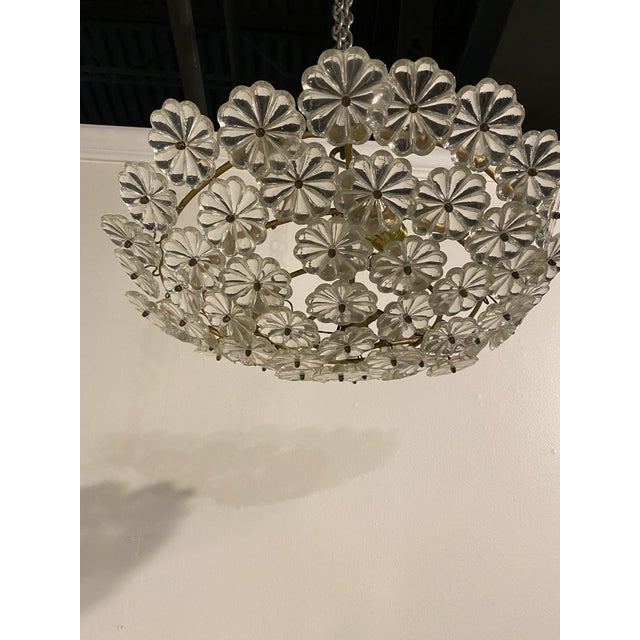 French French Glass Flower Light Fixture For Sale - Image 3 of 6