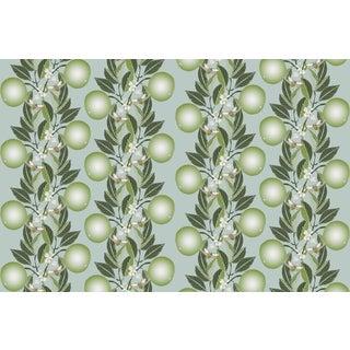 Orange Blossom Stripe Sage Powder Blue Linen Cotton Fabric 3yds For Sale