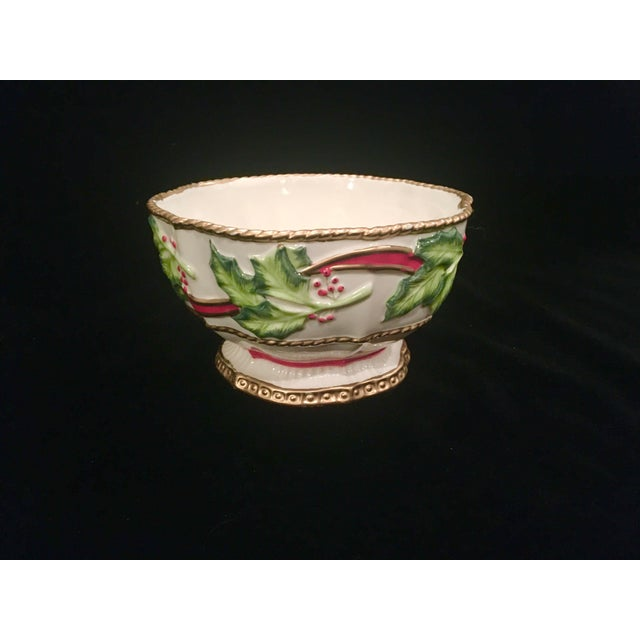 Vintage Late 20th Century Fitz and Floyd Christmas Dish With Holly Berries For Sale - Image 10 of 10