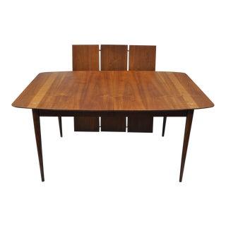 American Martinsville Walnut Dining Table Star Inlay Mid Century Modern 3 Leaves